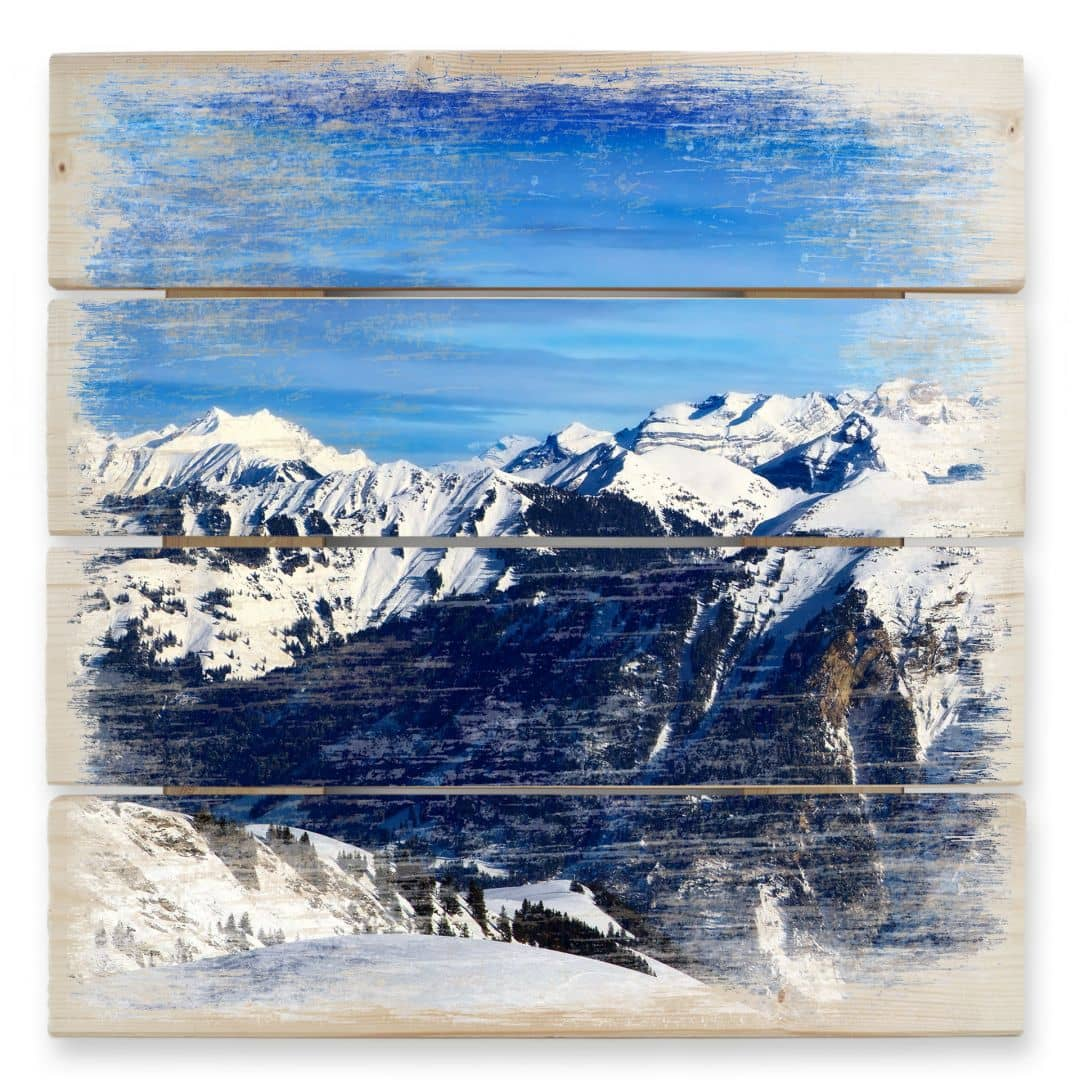 Holzbild Alpenpanorama