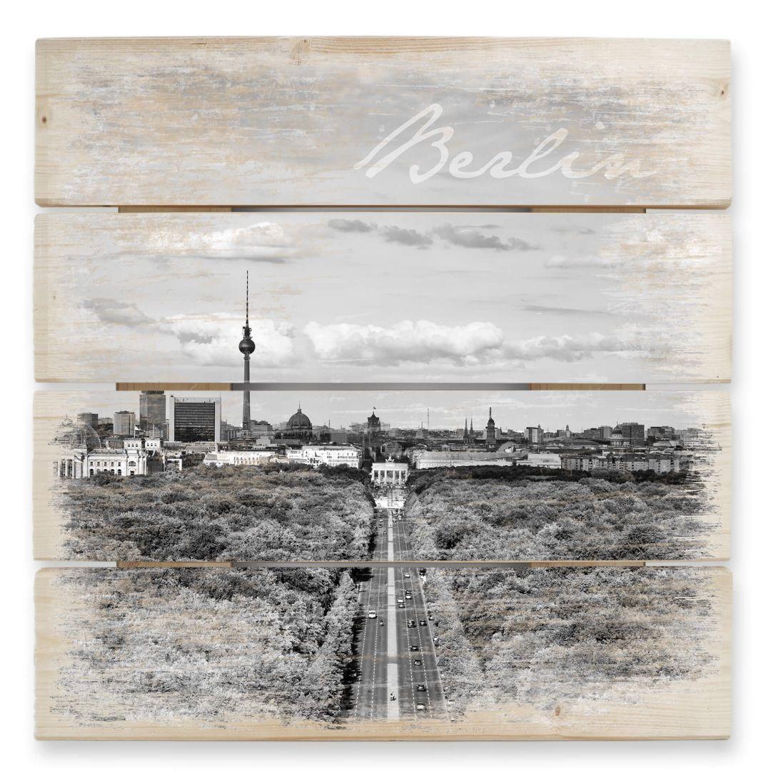 Holzbild Der Himmel über Berlin