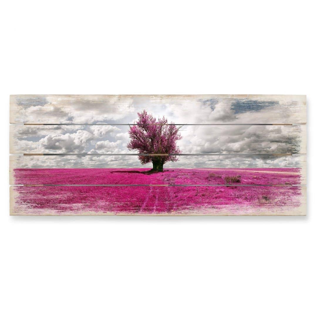 houten wanddecoratie de eenzame boom panorama