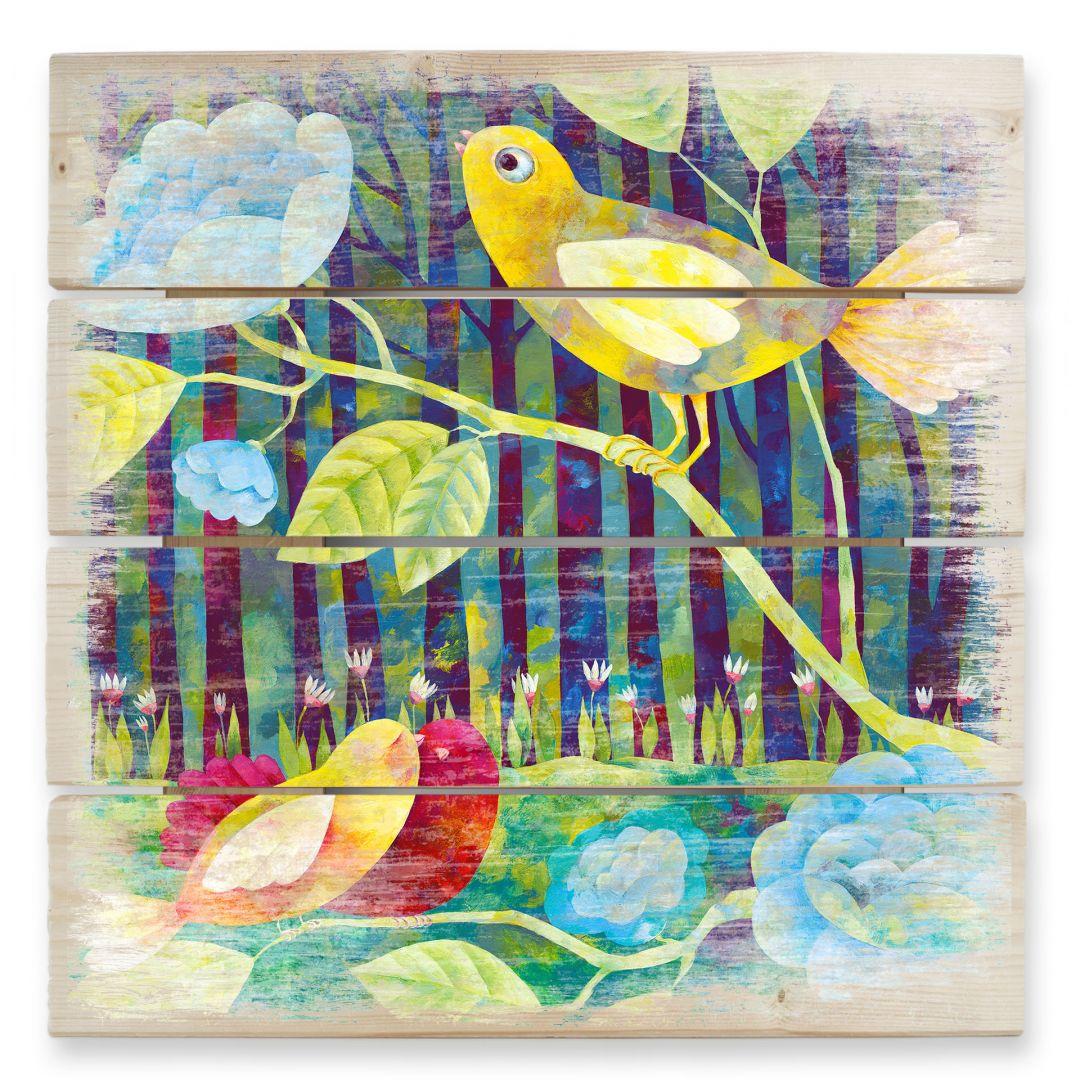 Holzbild Blanz - Vögel im Wald