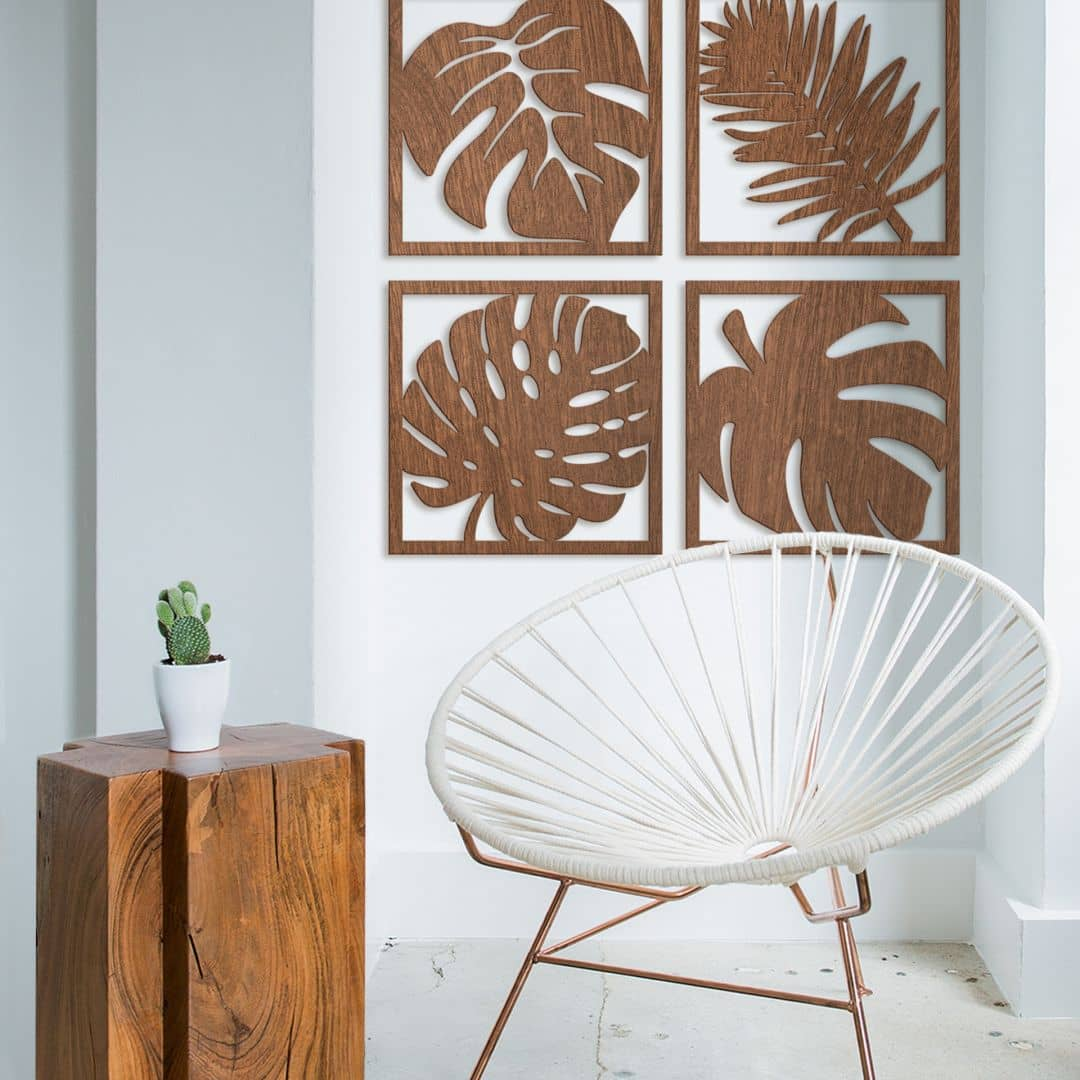Houten Wanddecoratie – Set van vier bladeren