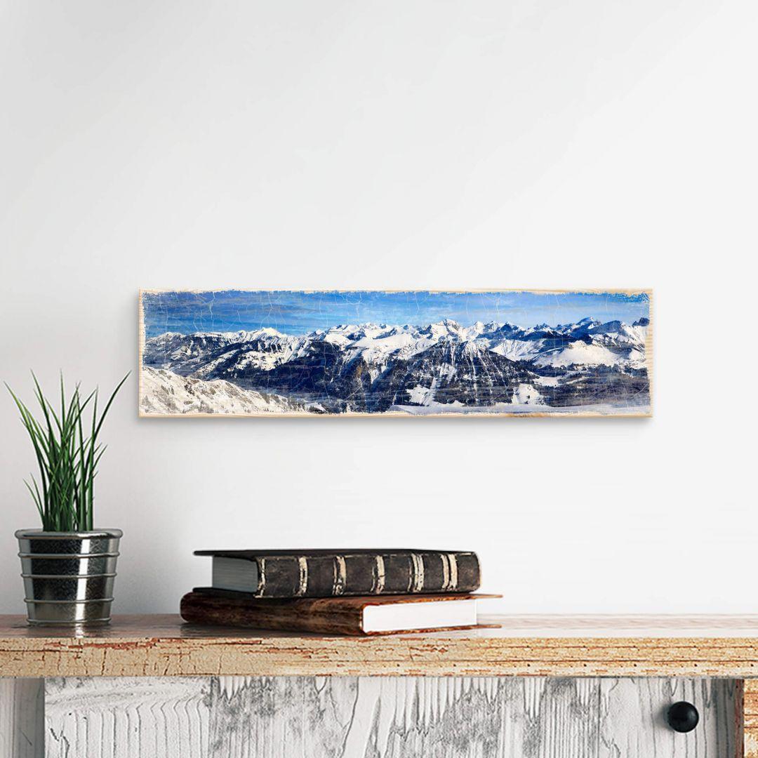 Holzschild Alpenpanorama