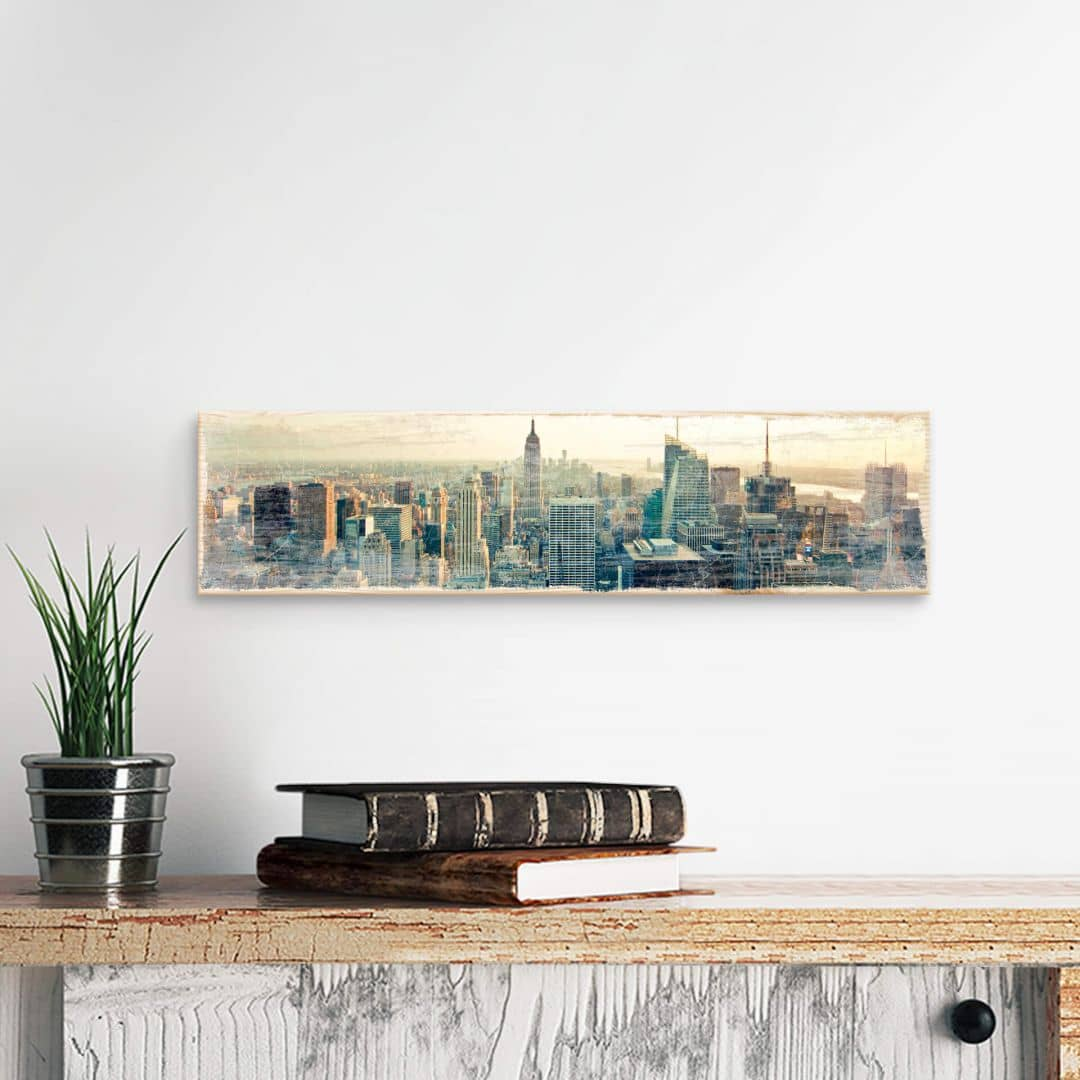 Wood Sign - Skyline of New York City