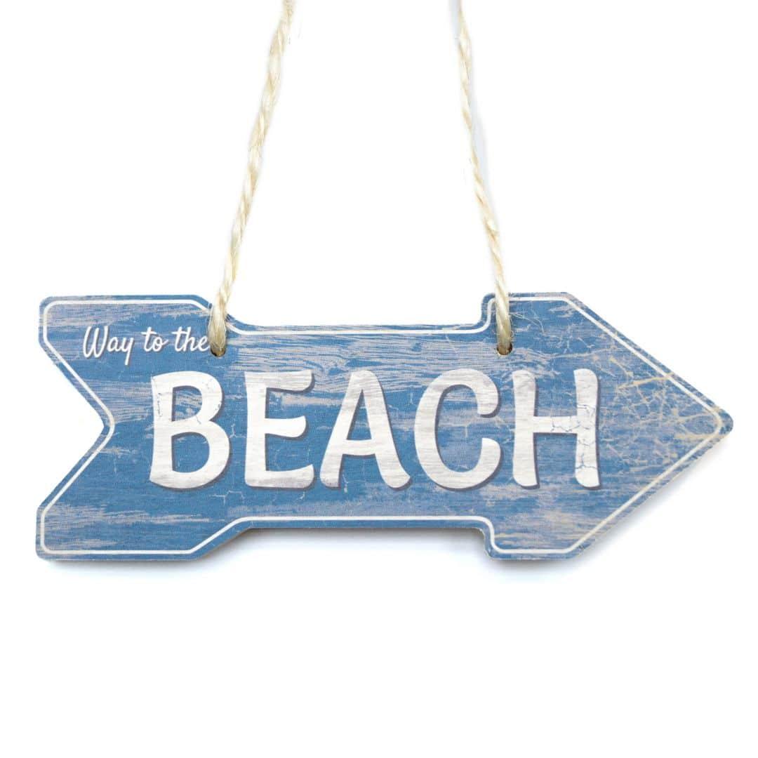 Stampa su legno targa in legno beach con corda in for Targhe decorative in legno