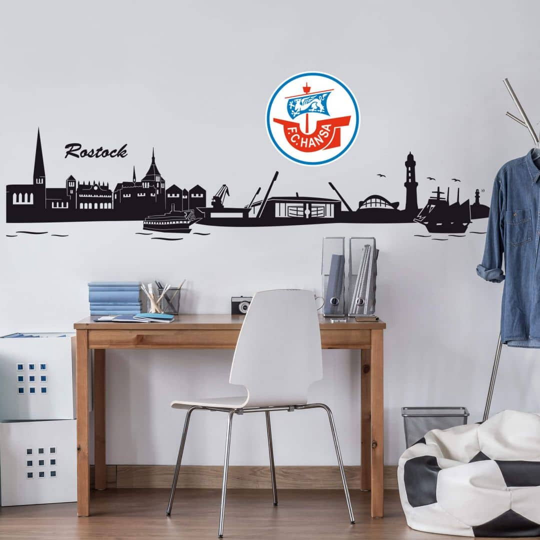 Wandtattoo Hansa Rostock Skyline mit Logo farbig