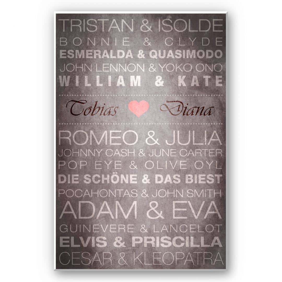 Forex print + custom text - Famous Couples