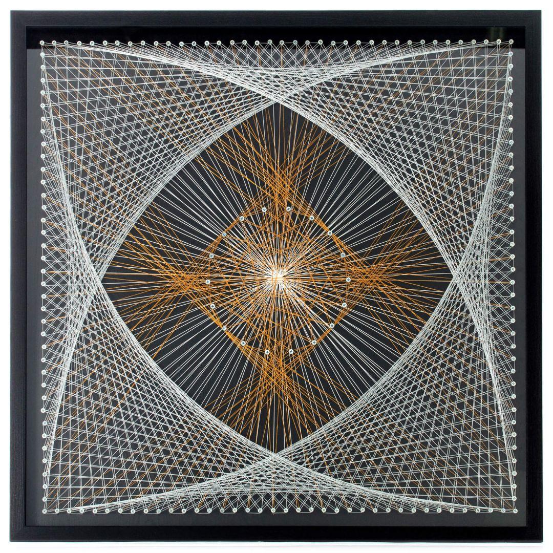 Faden-Wandbild Netzwerk 90cm x 90cm