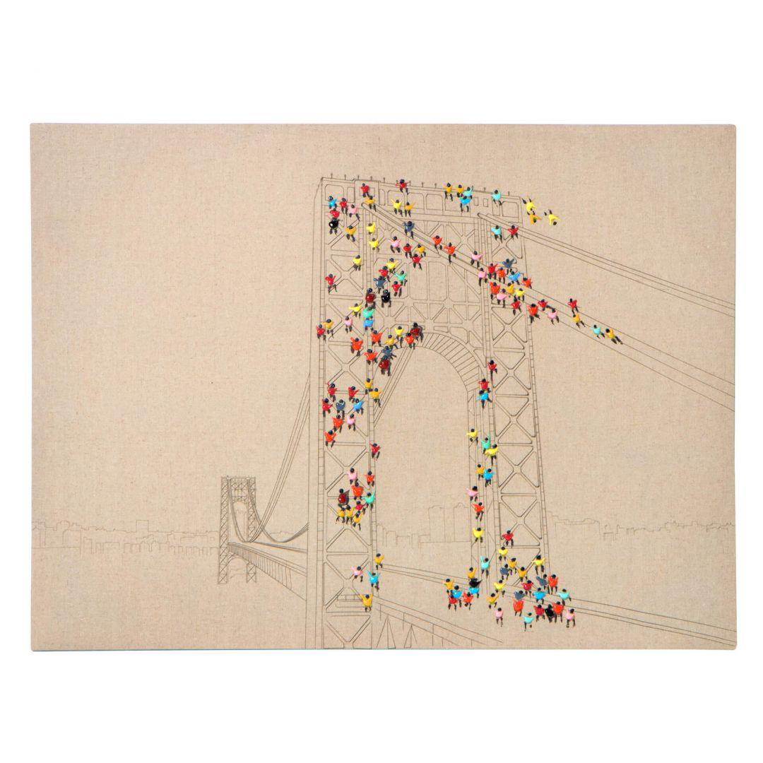 Öl-Wandbild Menschenmenge II 100cm x 75cm