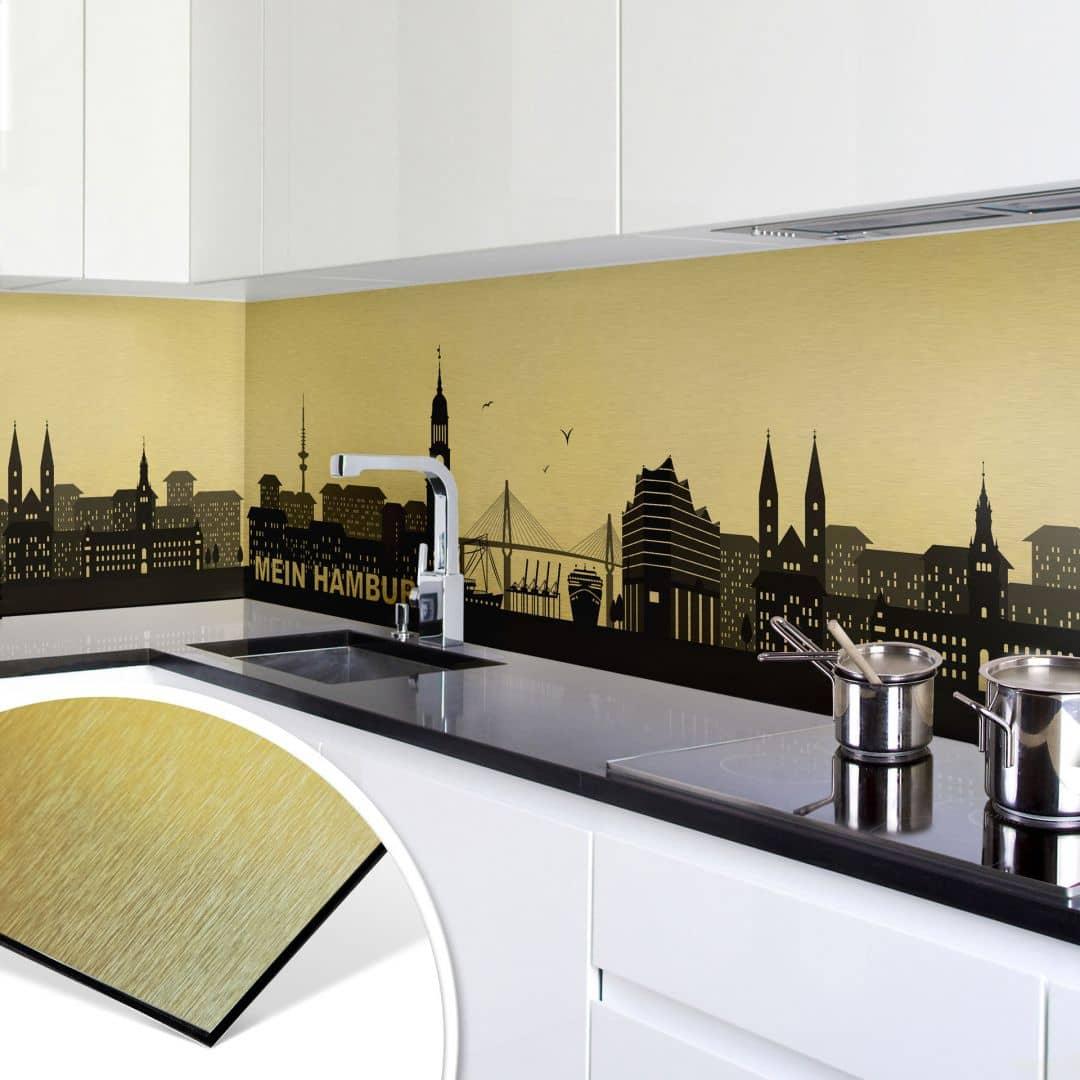 k chenr ckwand alu dibond goldeffekt mein hamburg wall. Black Bedroom Furniture Sets. Home Design Ideas