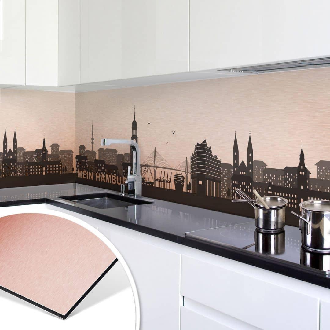k chenr ckwand alu dibond kupfereffekt mein hamburg wall. Black Bedroom Furniture Sets. Home Design Ideas