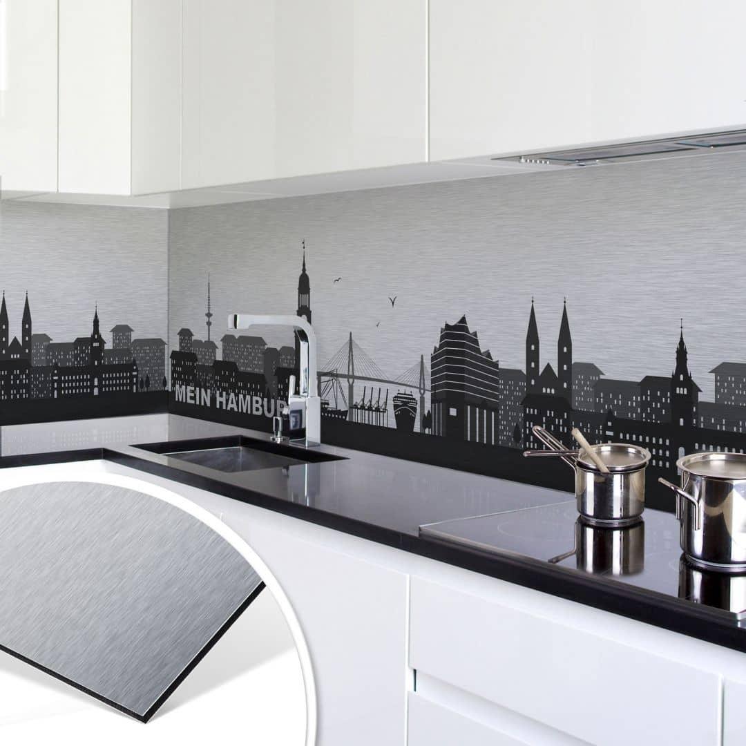 k chenr ckwand alu dibond silbereffekt mein hamburg wall. Black Bedroom Furniture Sets. Home Design Ideas