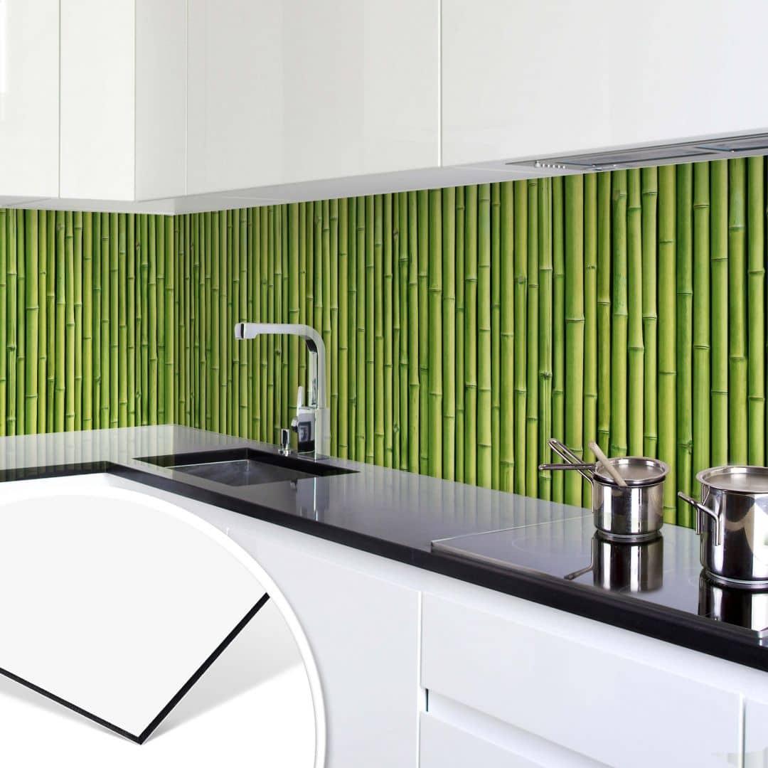 k chenr ckwand alu dibond bambus panorama bild wall. Black Bedroom Furniture Sets. Home Design Ideas