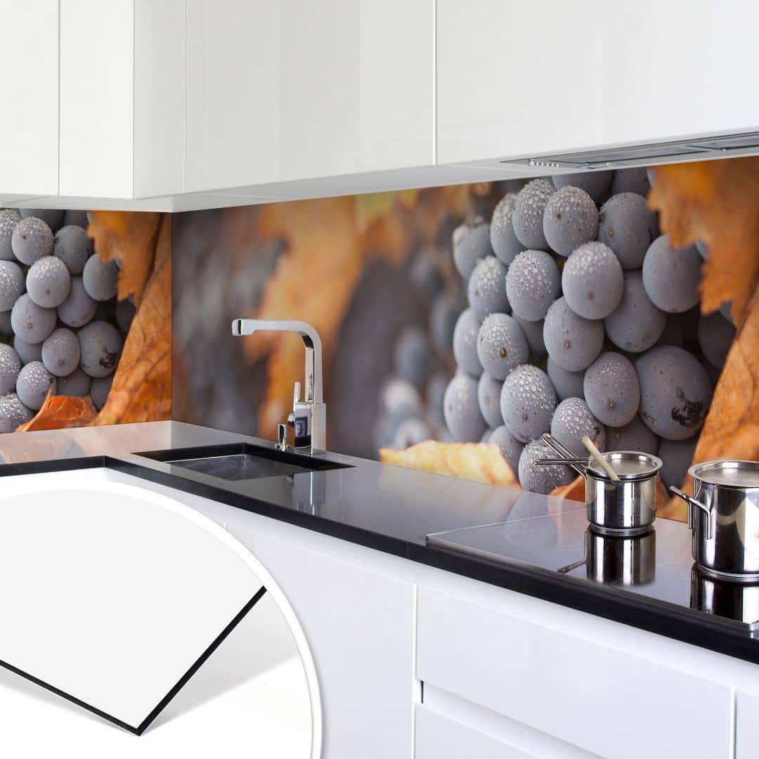k chenr ckwand alu dibond wein im herbst wall. Black Bedroom Furniture Sets. Home Design Ideas