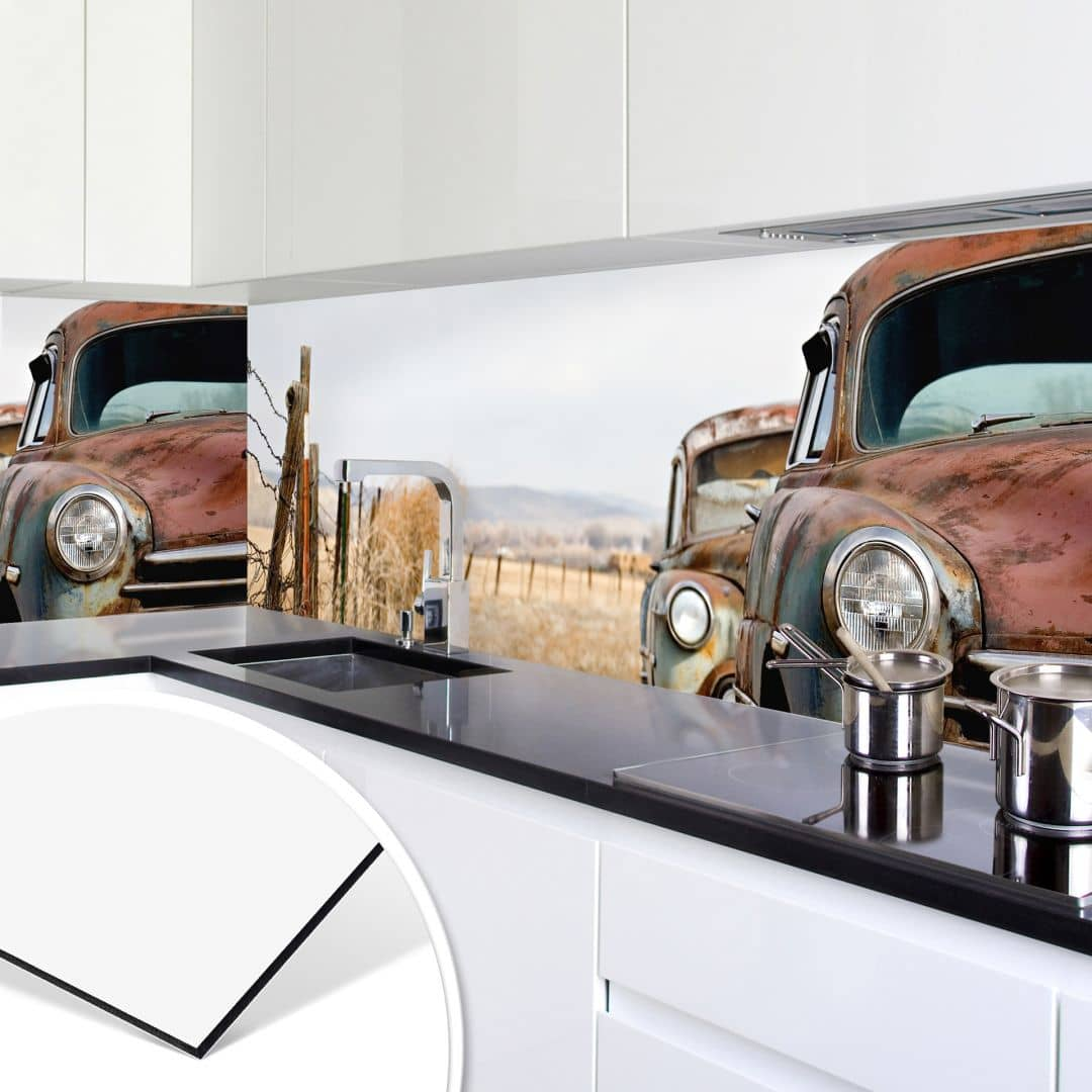 k chenr ckwand alu dibond old rusted cars wall. Black Bedroom Furniture Sets. Home Design Ideas