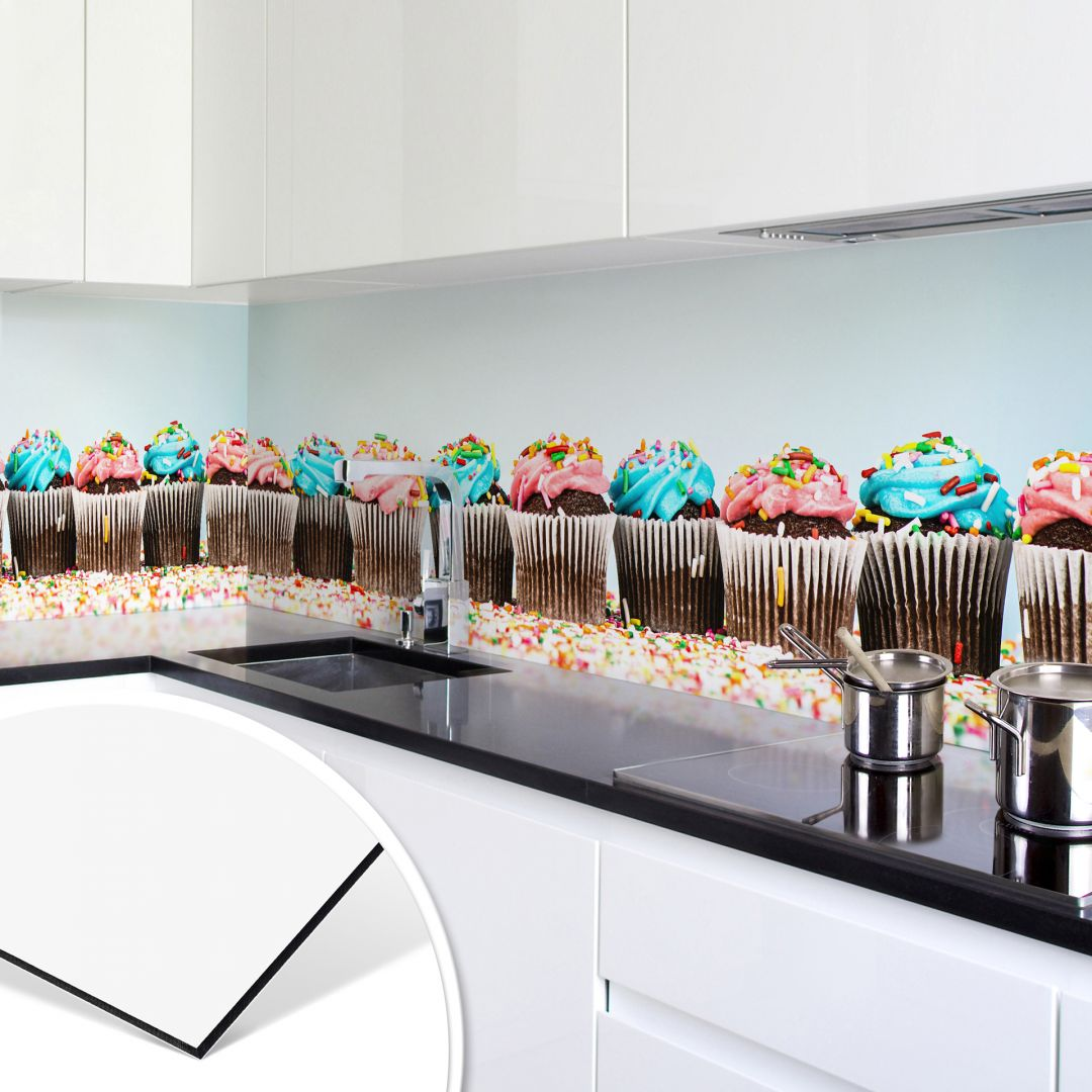 k chenr ckwand alu dibond party cupcakes wall. Black Bedroom Furniture Sets. Home Design Ideas
