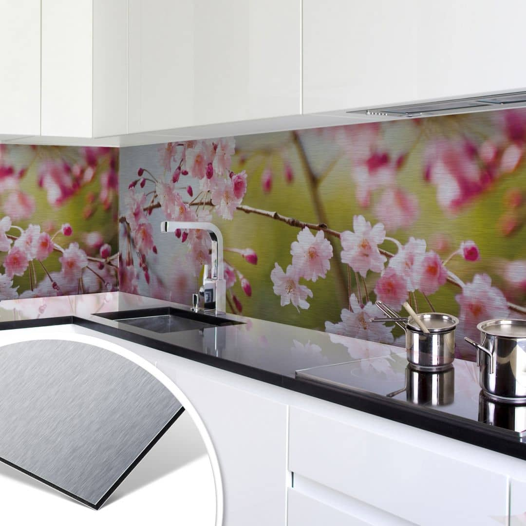 k chenr ckwand alu dibond silber cherry blossoms wall. Black Bedroom Furniture Sets. Home Design Ideas
