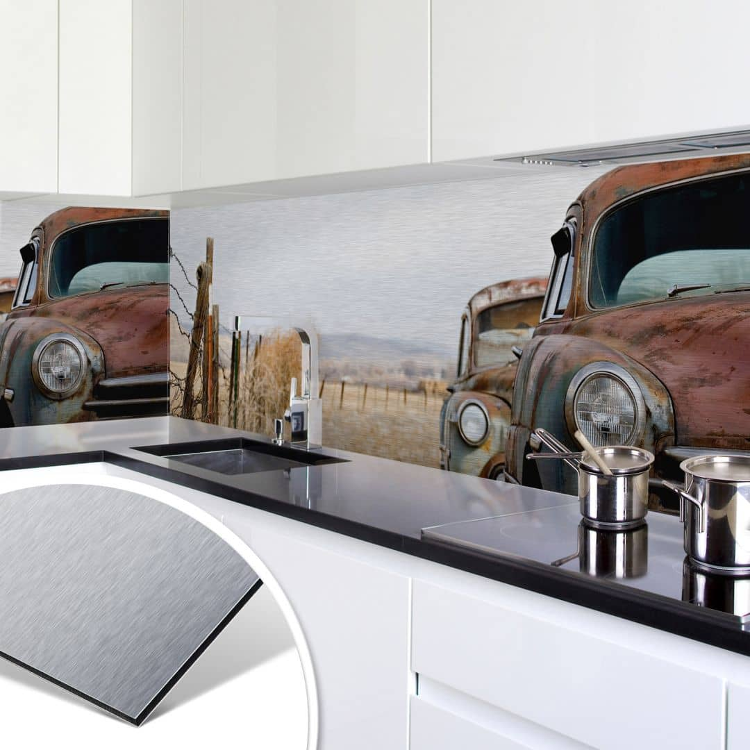 k chenr ckwand alu dibond silber old rusted cars wall. Black Bedroom Furniture Sets. Home Design Ideas