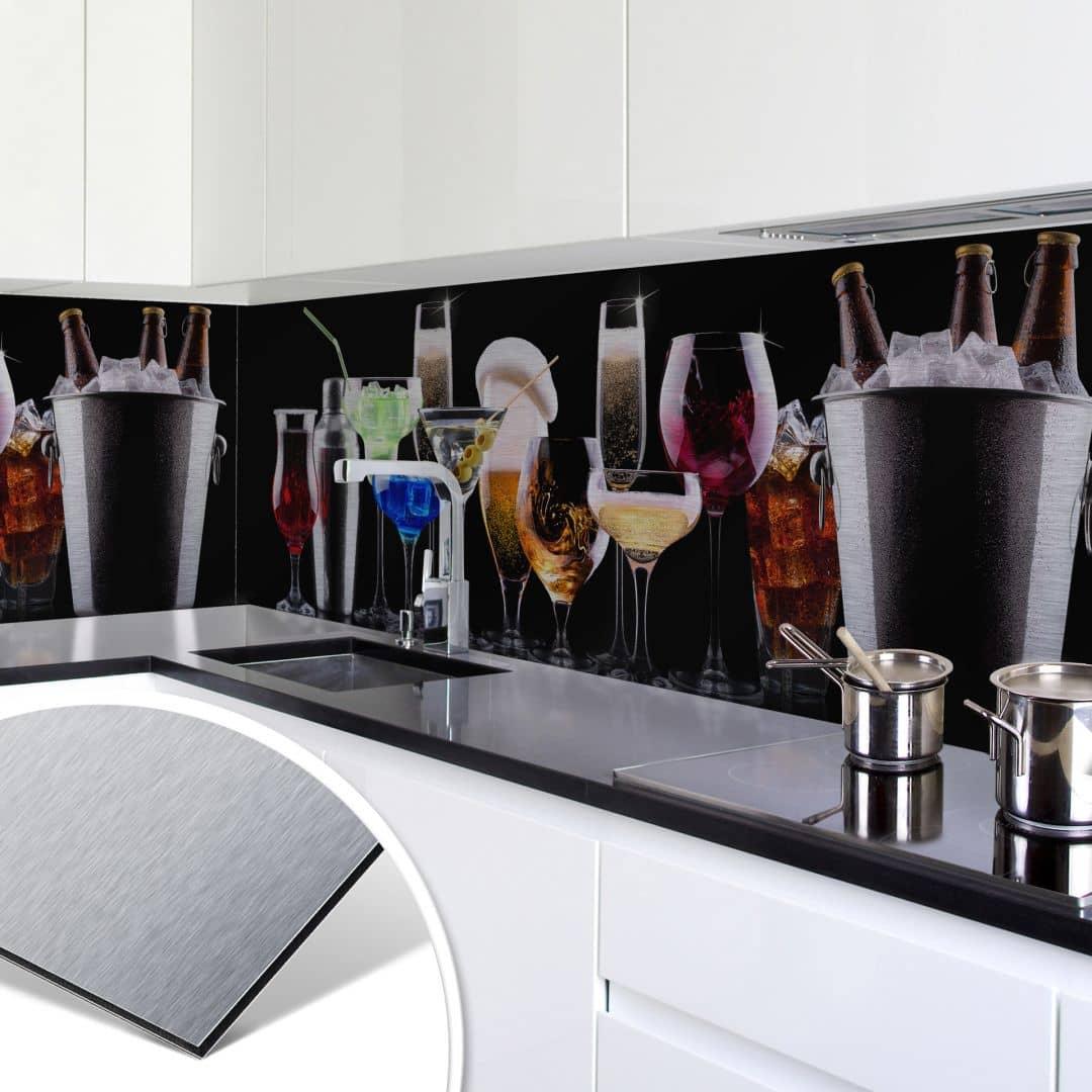 k chenr ckwand alu dibond silber cocktail feeling wall. Black Bedroom Furniture Sets. Home Design Ideas