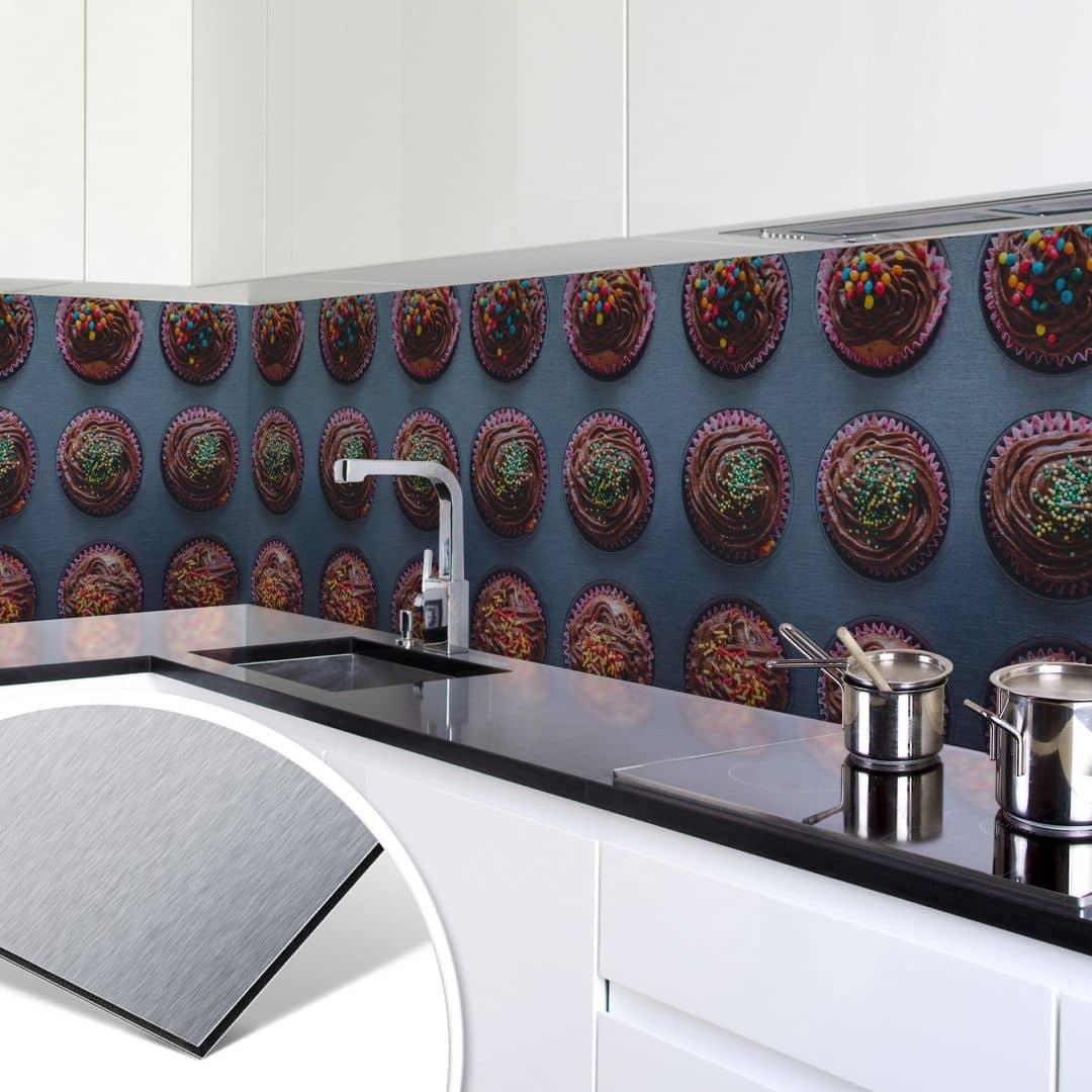Küchenrückwand - Alu-Dibond-Silber - Birthday Muffins