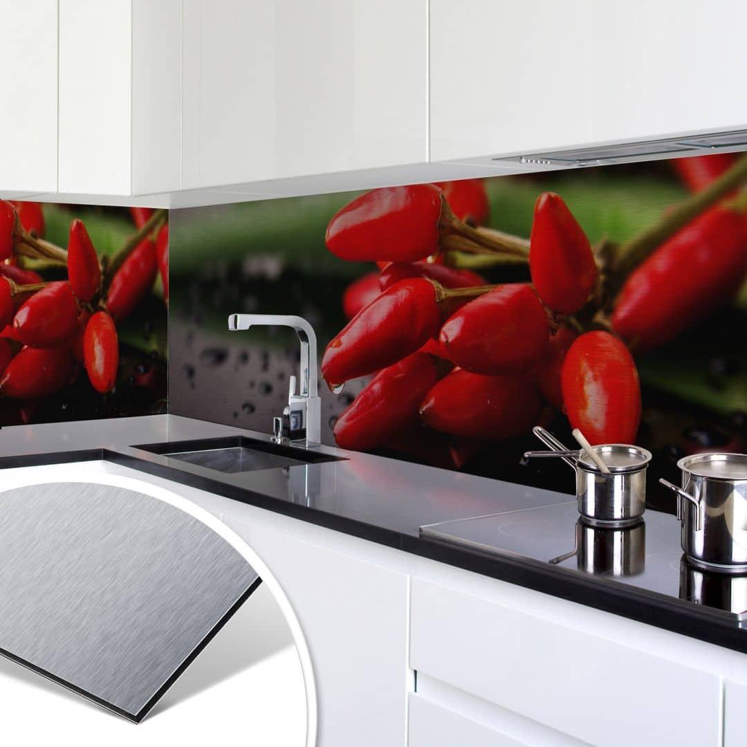 k chenr ckwand alu dibond silber exotische sch rfe wall. Black Bedroom Furniture Sets. Home Design Ideas