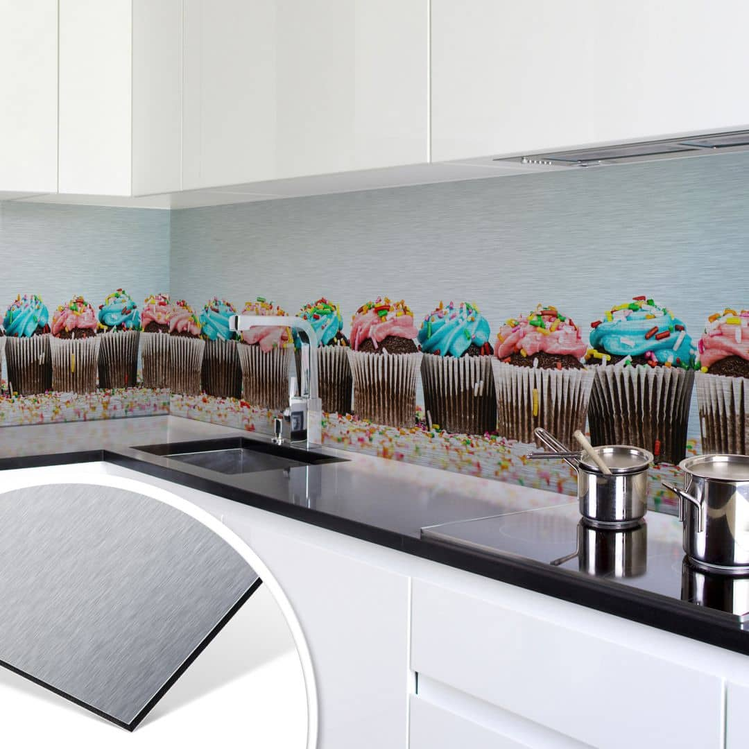 k chenr ckwand alu dibond silber party cupcakes wall. Black Bedroom Furniture Sets. Home Design Ideas