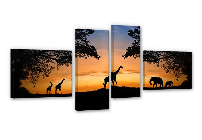 Canvas Afrikaanse Zonsondergang