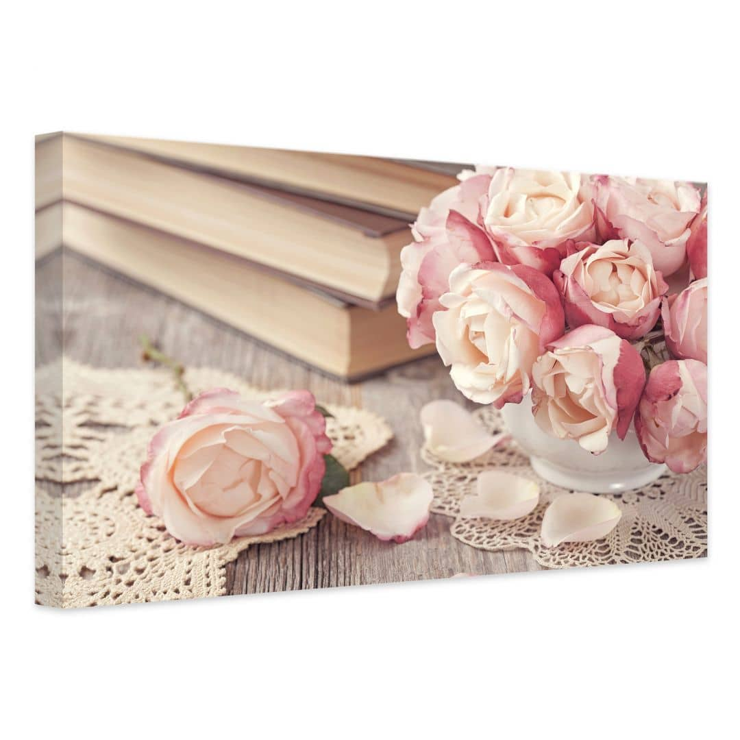leinwand rosa rosen pure romantik als dekoration f r die w nde wall. Black Bedroom Furniture Sets. Home Design Ideas