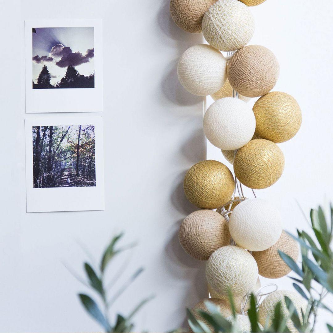 Cotton Ball Lights - LED Lichterkette - Gold 35-tlg.