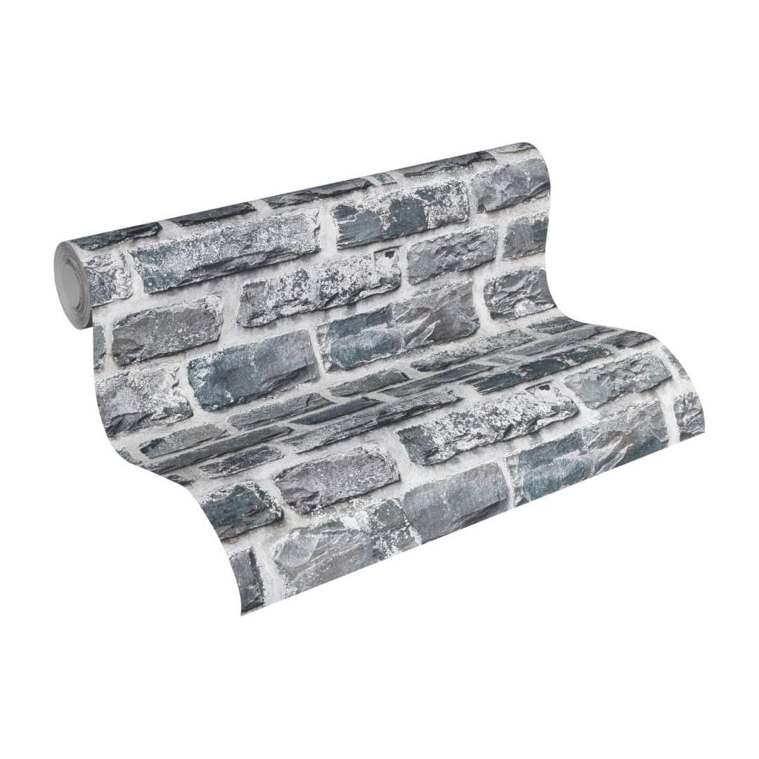 Livingwalls Wallpaper Brick Effect Grey, Black