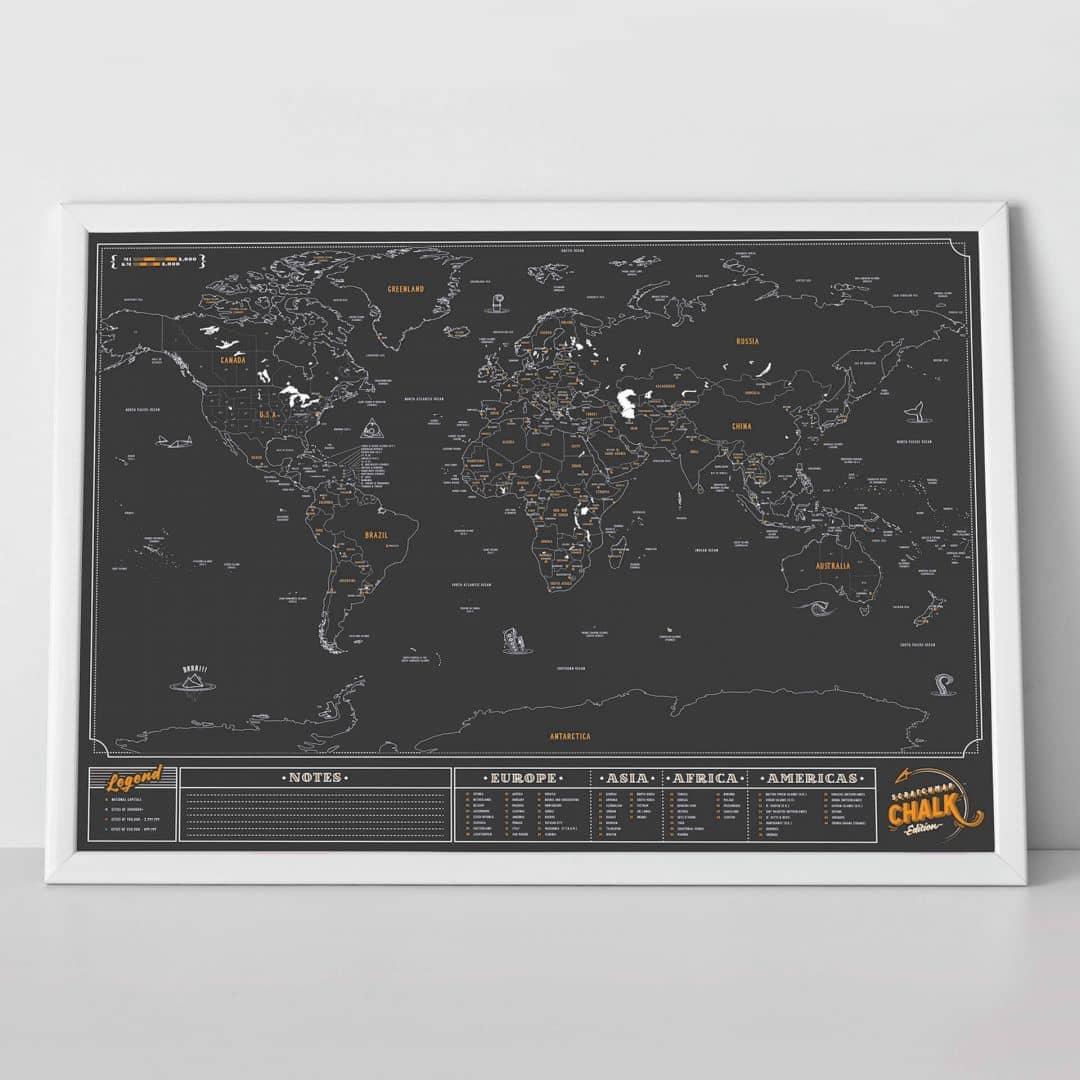 Scratch Map - Wereldkaart - Schoolbord Editie