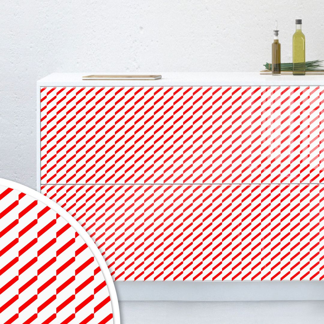 Möbelfolie, Dekofolie - abwischbar - Gestrichelt Rot