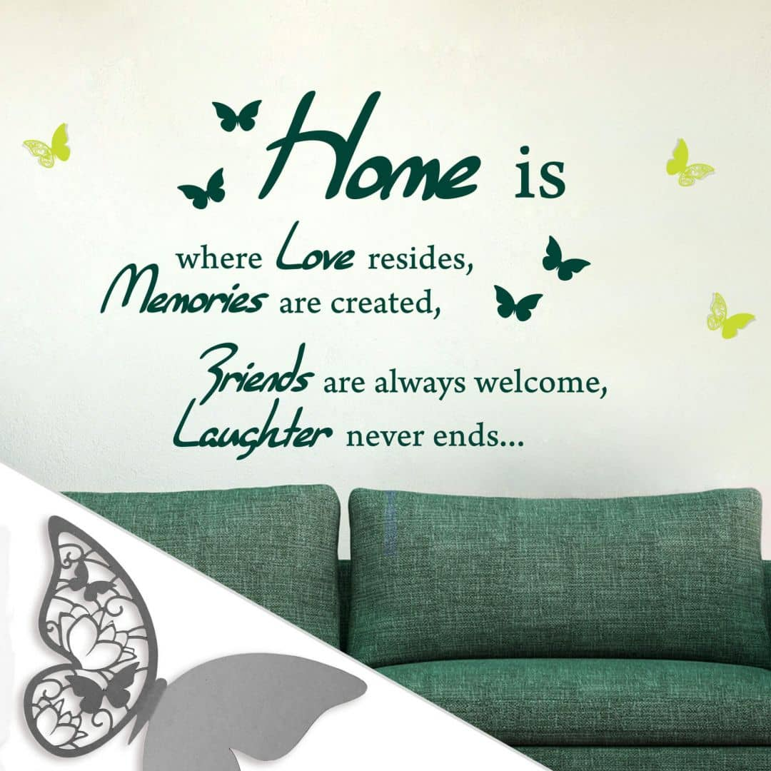 Home is where Love resides... + Farfalle decorative 2 in 3D con Tesa Tack (4 farfalle)