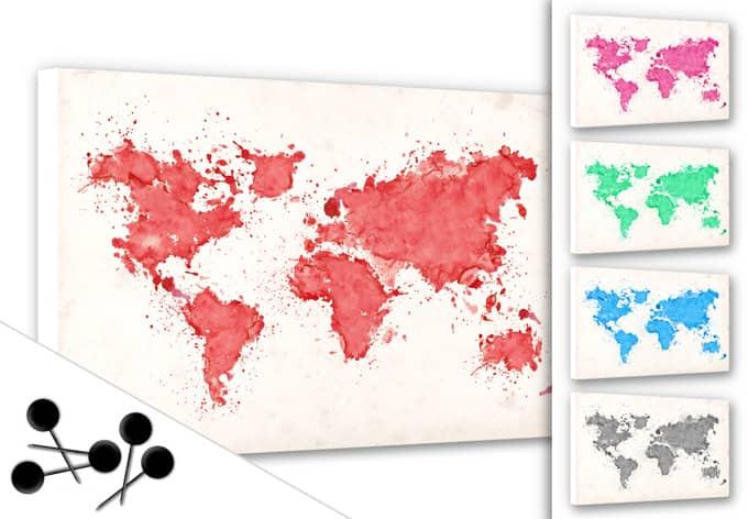 Prikbord Wereldkaart Aquarel