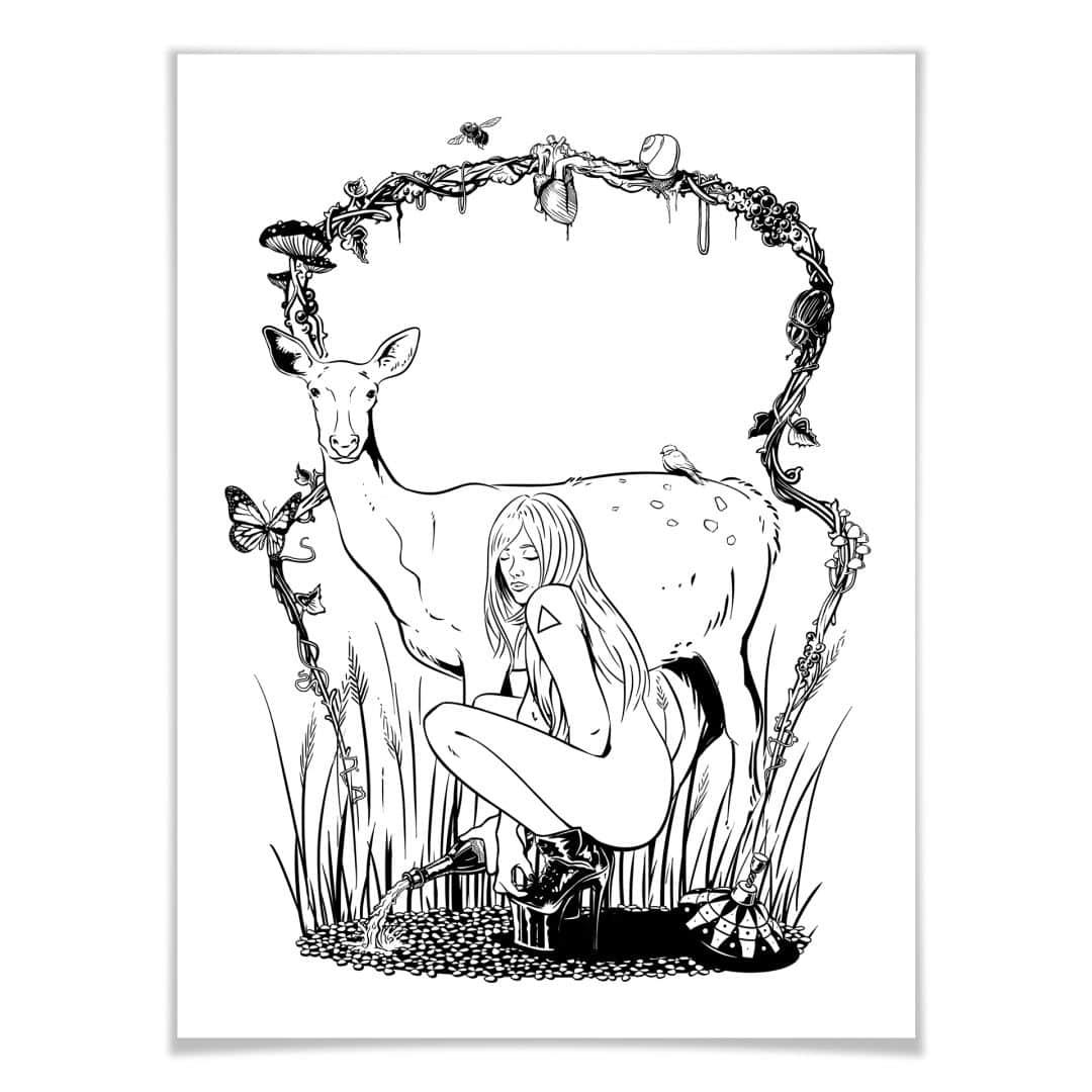 Poster  - Drawstore - Deer n Girl