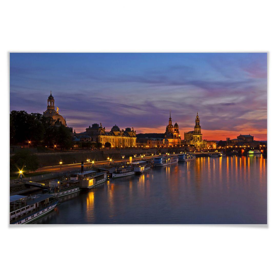 Poster Dresden im Nachtlicht