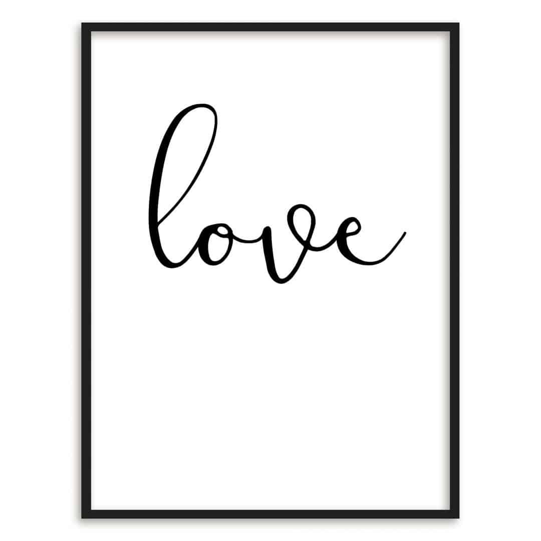 poster con cornice scritta love wall. Black Bedroom Furniture Sets. Home Design Ideas