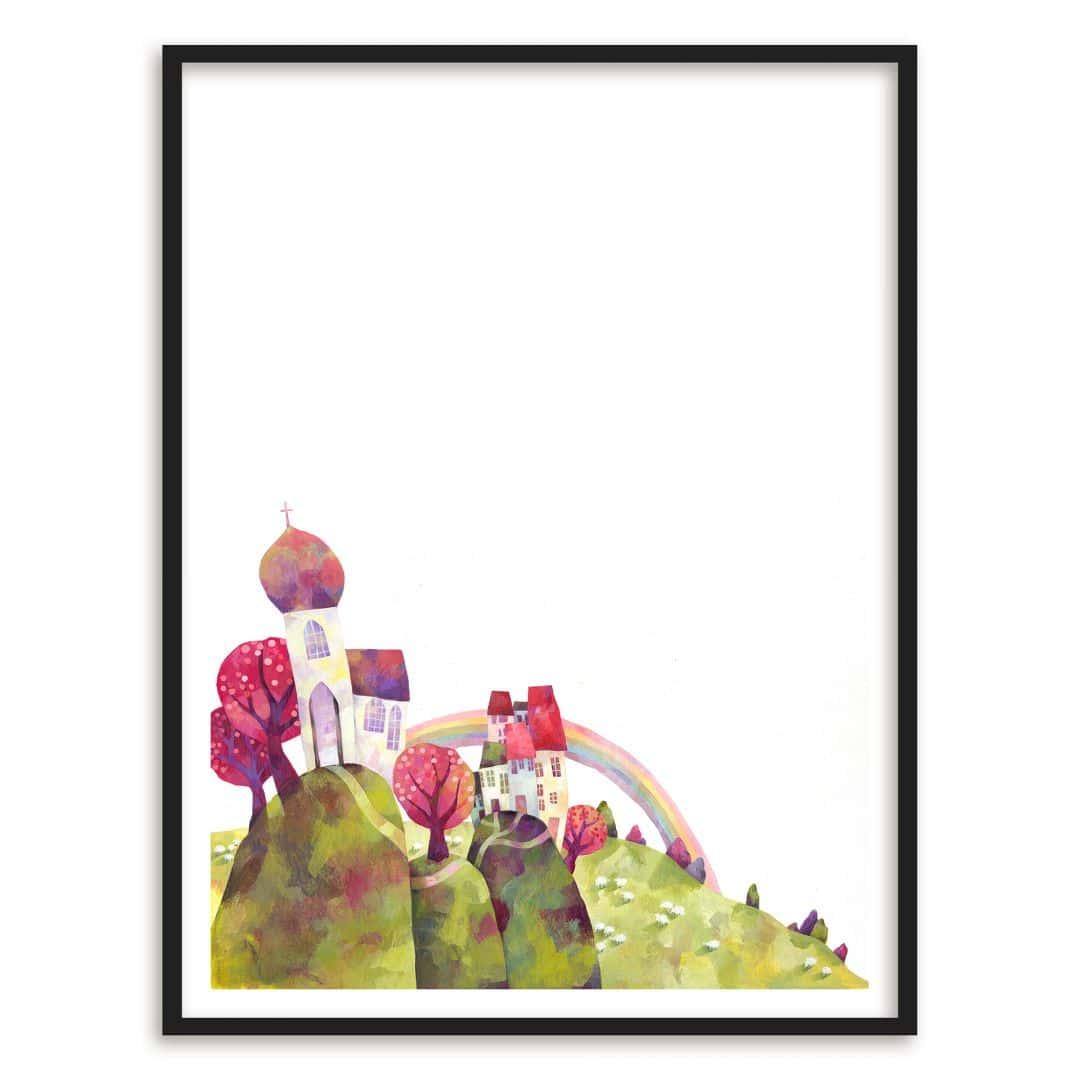 Poster mit Bilderrahmen Blanz - Die Dorfkirche