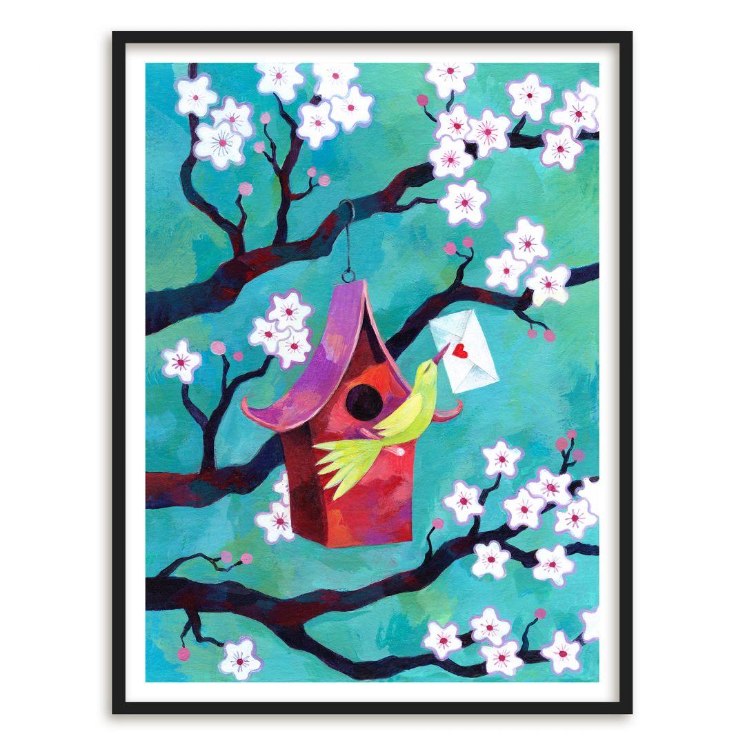 Poster mit Bilderrahmen Blanz - Vogelhäuschen