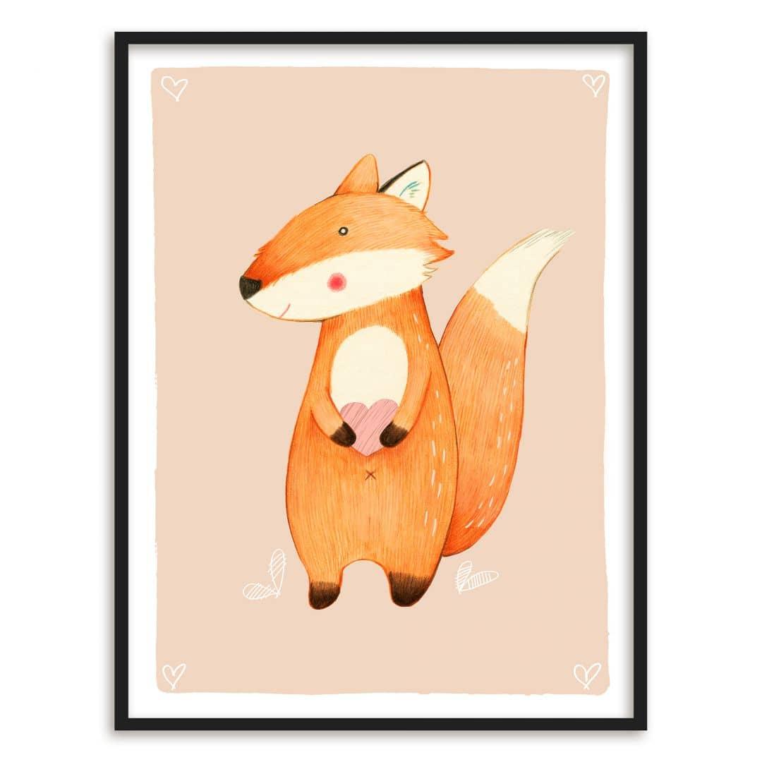 Buntes Premiumposter mit süßem Fuchs für das Kinderzimmer   wall-art.de