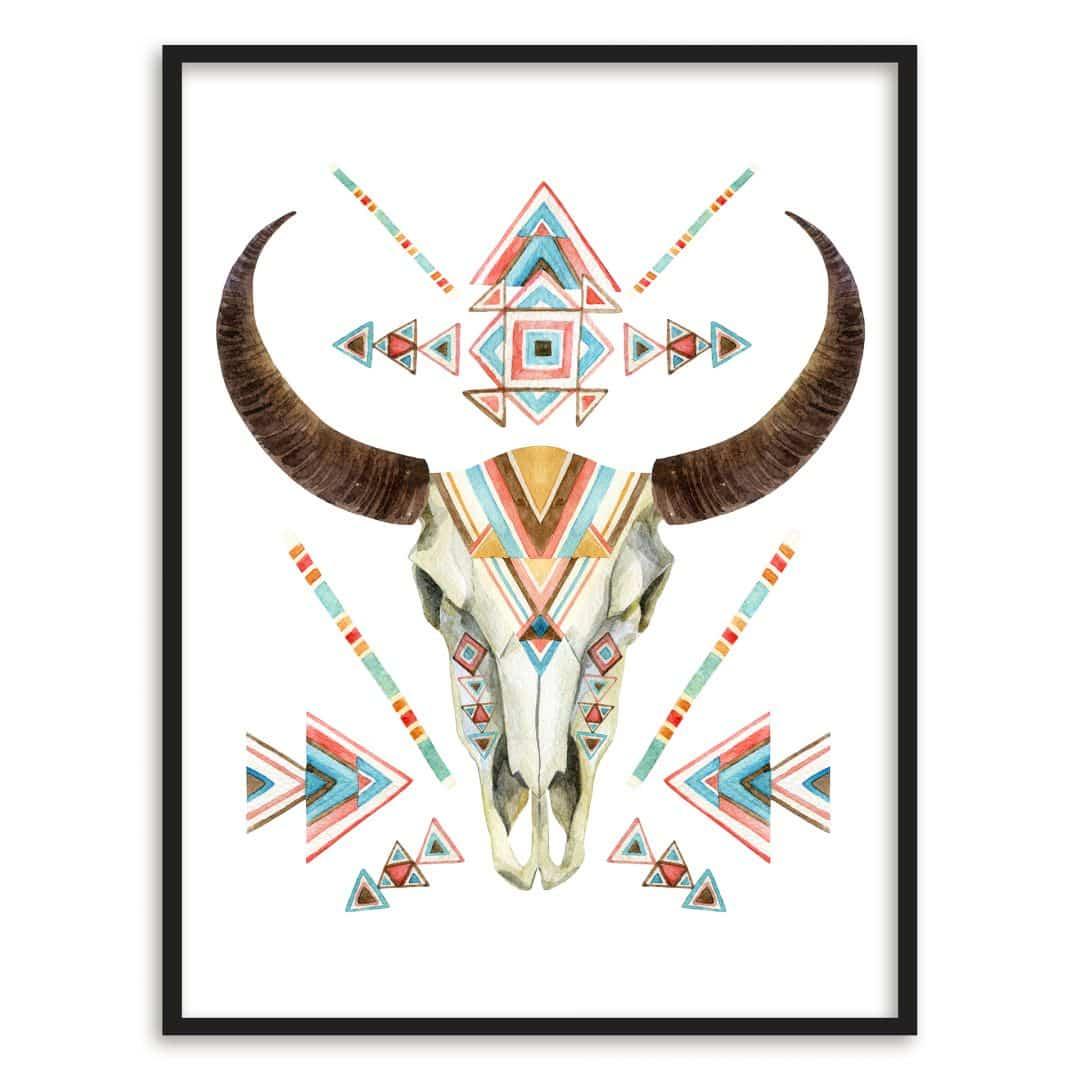 Poster mit Bilderrahmen Bohemian Skull