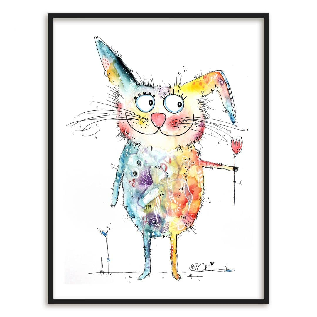 Poster mit Bilderrahmen Hagenmeyer - Happy Rabbit