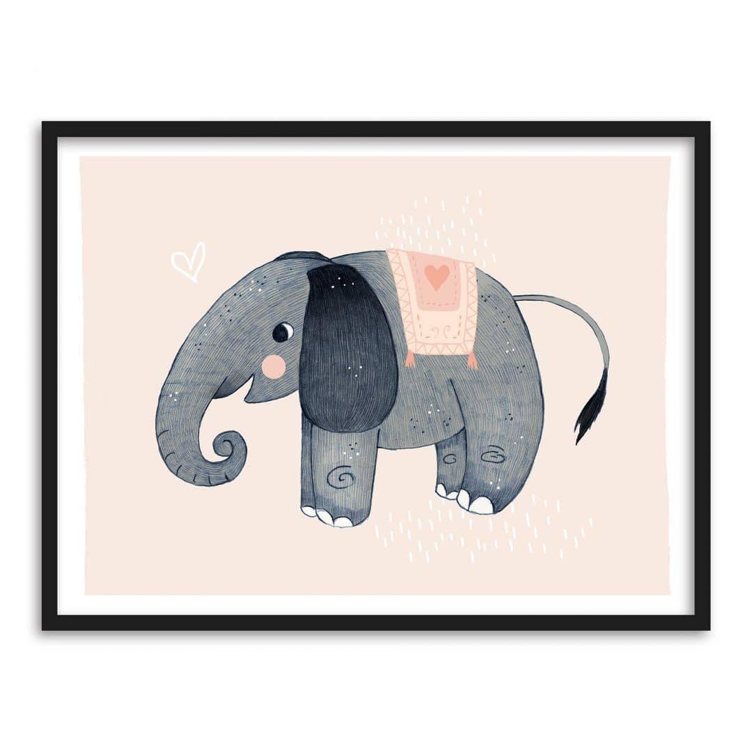 Buntes Premiumposter mit süßem Elefanten für das Kinderzimmer | wall ...