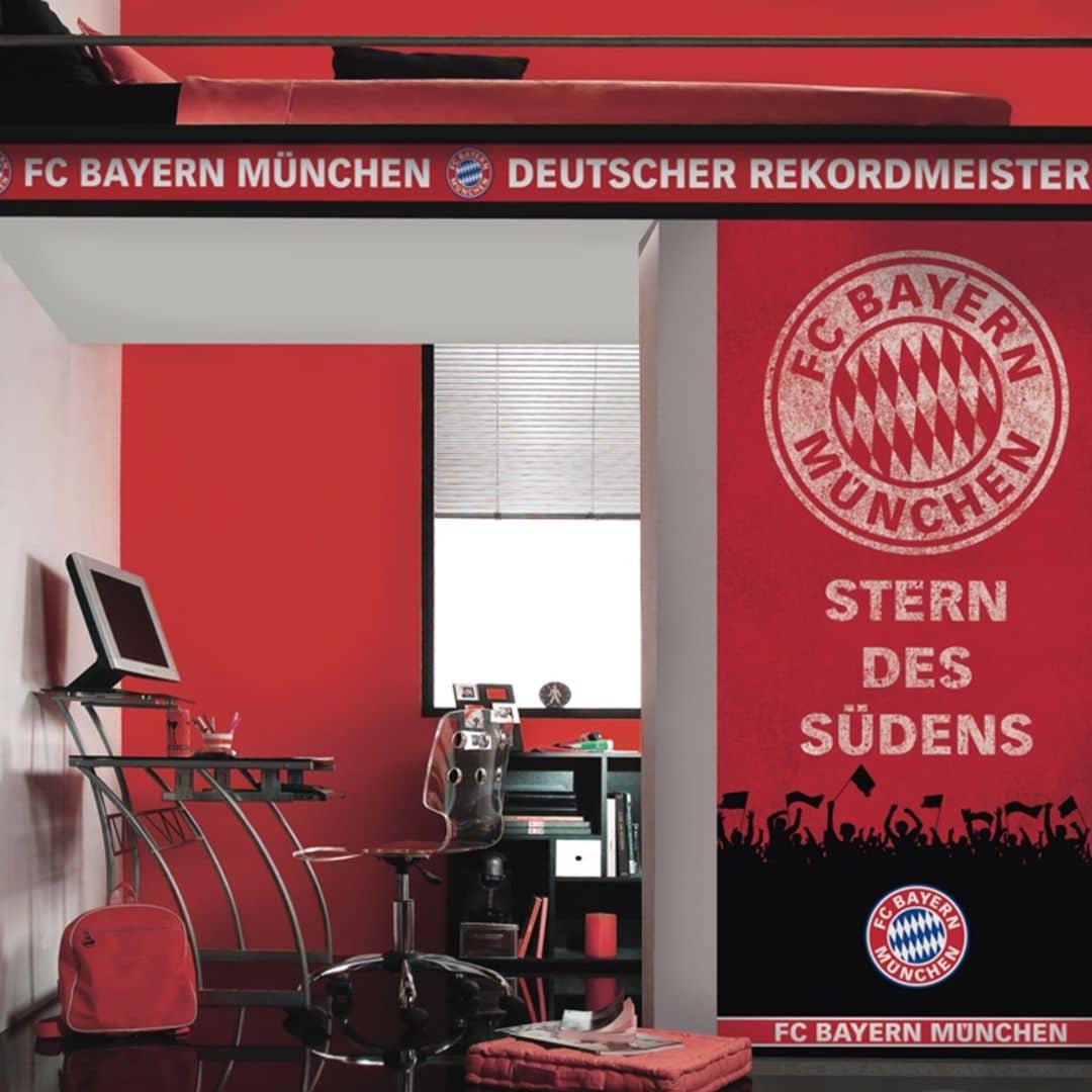 fc bayern m nchen wandbild stern des s dens 889208 rot wall. Black Bedroom Furniture Sets. Home Design Ideas
