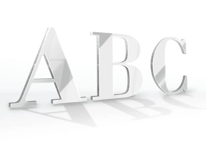 Spiegel-Dekobuchstaben - Schriftart Bodoni