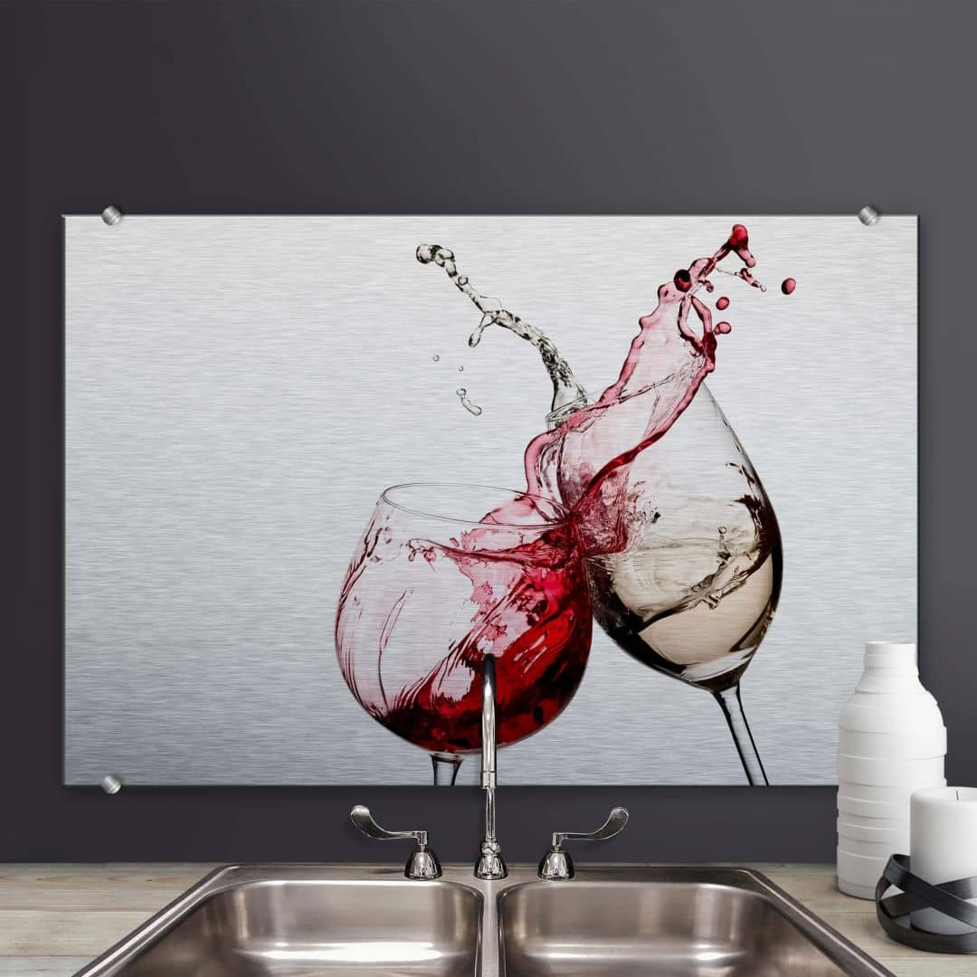 splashback alu dibond wine glasses. Black Bedroom Furniture Sets. Home Design Ideas