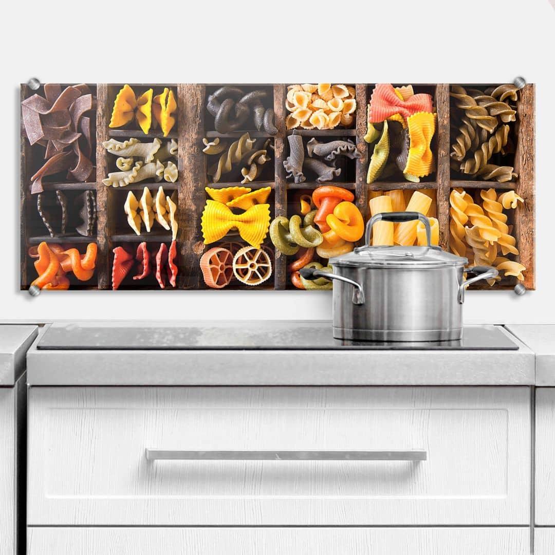 Pannello paraschizzi collezione di pasta panoramica - Pannello cucina paraschizzi ...