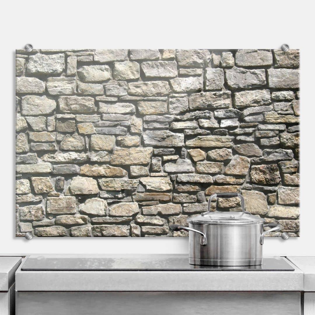 spritzschutz natursteinmauer wall. Black Bedroom Furniture Sets. Home Design Ideas