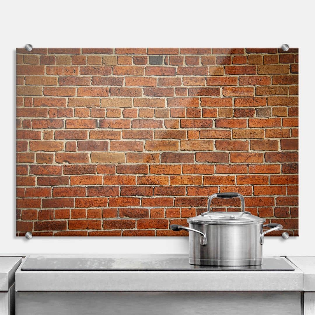 Brick wall kitchen splashback