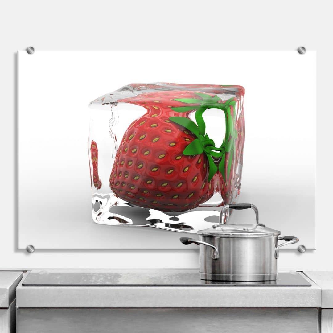 Strawberry Ice Cube - Kitchen Splashback
