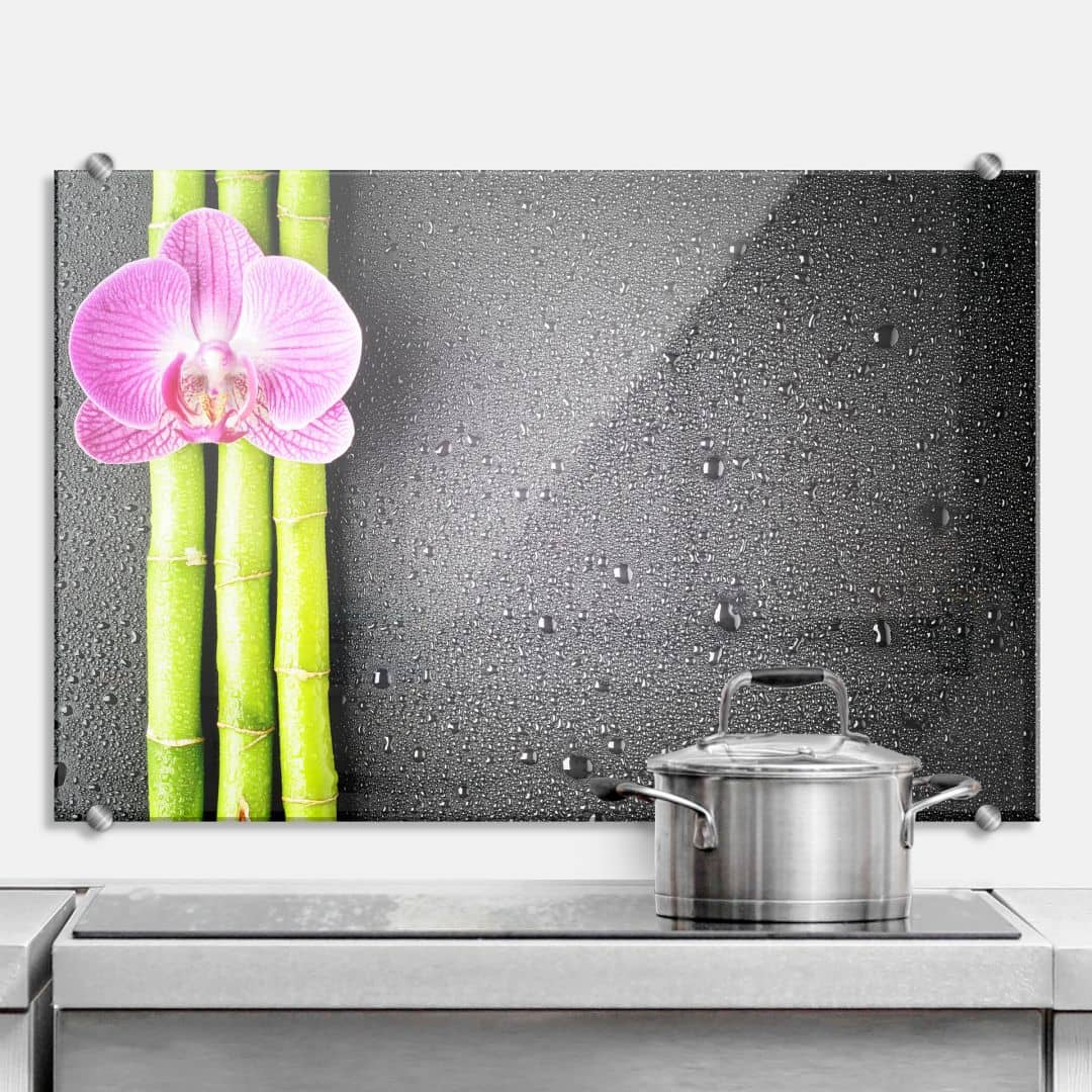 Orchid and Bamboo - Kitchen Splashback